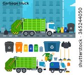 Garbage Truck Vector Flat...