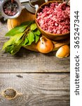 preparated minced meat in a...