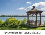 a wood gazebo over looks the... | Shutterstock . vector #365248160