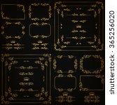 vector set of gold decorative... | Shutterstock .eps vector #365256020