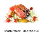 beef meat and red peppers on... | Shutterstock . vector #365256413