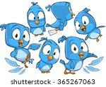 very adorable blue cartoon bird ...