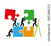puzzle and people icon vector... | Shutterstock .eps vector #365268113