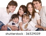 happy parents hold the children ...   Shutterstock . vector #36529039