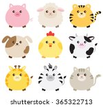Stock vector vector illustration of fat animals including pig sheep tiger dog chicken cow giraffe zebra 365322713