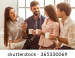 coffee break chat. group of... | Shutterstock . vector #365330069