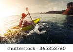 lady paddling the sea kayak... | Shutterstock . vector #365353760