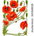 vector frame with red poppies... | Shutterstock .eps vector #365368028