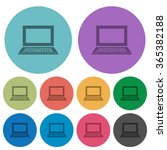 color laptop flat icon set on...