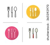 cutlery flat design  linear and ... | Shutterstock .eps vector #365392970