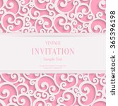 Stock photo swirl pink d valentines or wedding invitation cards background with curl damask pattern 365396198