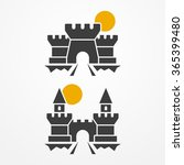 Set Of Two Ancient Castle Icon...
