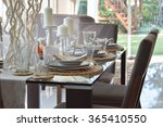 dining wooden table and... | Shutterstock . vector #365410550