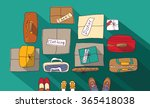moving passage luggage family... | Shutterstock . vector #365418038