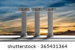 Three Ancient Pillars With...