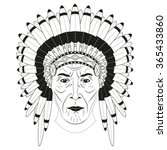 indian chief in a feathered hat.... | Shutterstock . vector #365433860