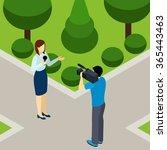 journalist woman reporting live ... | Shutterstock .eps vector #365443463