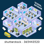 school isometric interior with... | Shutterstock .eps vector #365443520