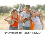 carefree friends with guitar... | Shutterstock . vector #365445320