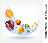 fruits in splashing water.... | Shutterstock .eps vector #365457860