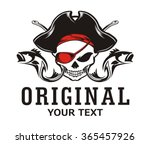 skull pirate hook and fish | Shutterstock .eps vector #365457926