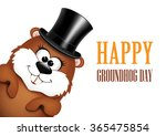 funny groundhog in hat on a... | Shutterstock .eps vector #365475854