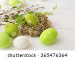 colorful easter eggs and spring ... | Shutterstock . vector #365476364