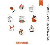 celebration easter icons | Shutterstock .eps vector #365488058