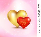 red and gold heart on a pink...   Shutterstock .eps vector #365491073