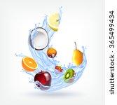 fruits in splashing water.... | Shutterstock .eps vector #365499434