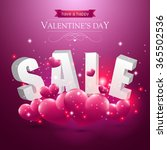 valentines sale sign with pink... | Shutterstock .eps vector #365502536