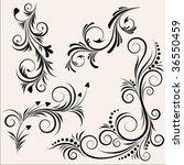 black floral design elements | Shutterstock .eps vector #36550459