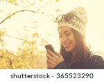 gir outdoorsl typing messages... | Shutterstock . vector #365523290
