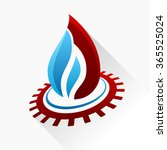 symbol fire with gear. blue and ... | Shutterstock . vector #365525024