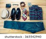 clothing for men on the wooden...   Shutterstock . vector #365542940