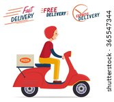 delivery boy riding scooter | Shutterstock .eps vector #365547344