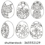 hand drawn doodle easter eggs... | Shutterstock . vector #365552129