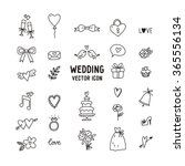 wedding doodle vector icon set | Shutterstock .eps vector #365556134