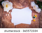 white paper on a stone wall... | Shutterstock . vector #365572334