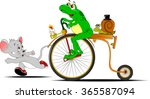 Frog On A Bike Competing In Th...