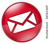 red glass email button with... | Shutterstock . vector #36561469
