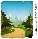 cartoon mountains landscape...   Shutterstock .eps vector #365616386