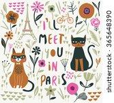 i'll meet you in paris. print... | Shutterstock .eps vector #365648390