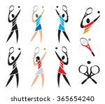 tennis icons symbols. set of... | Shutterstock .eps vector #365654240