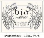 hand drawn card with herbs and... | Shutterstock .eps vector #365674976