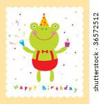 frog birthday card | Shutterstock .eps vector #36572512