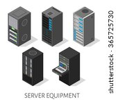 isometric set server equipment... | Shutterstock .eps vector #365725730
