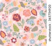 beautiful floral seamless... | Shutterstock .eps vector #365754920