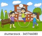 little kids playing jump rope... | Shutterstock . vector #365766080