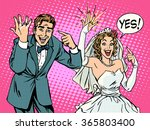 happy bride and groom with... | Shutterstock .eps vector #365803400